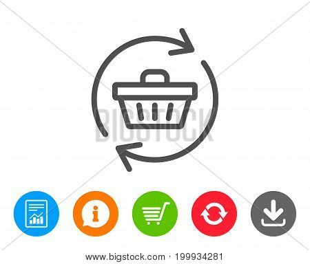 Update Shopping cart line icon. Online buying sign. Supermarket basket symbol. Report, Information and Refresh line signs. Shopping cart and Download icons. Editable stroke. Vector