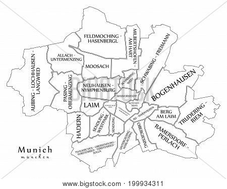 Modern City Map - Munich City Of Germany With Boroughs And Titles De Outline Map