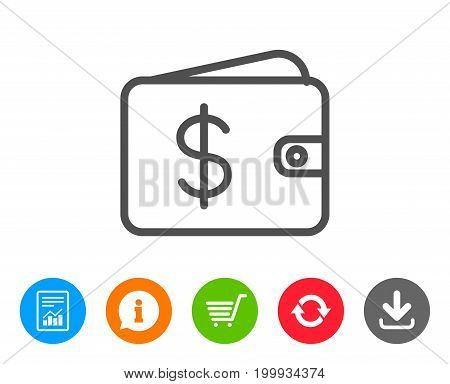 Shopping Wallet line icon. Dollar sign. USD Money pocket symbol. Report, Information and Refresh line signs. Shopping cart and Download icons. Editable stroke. Vector