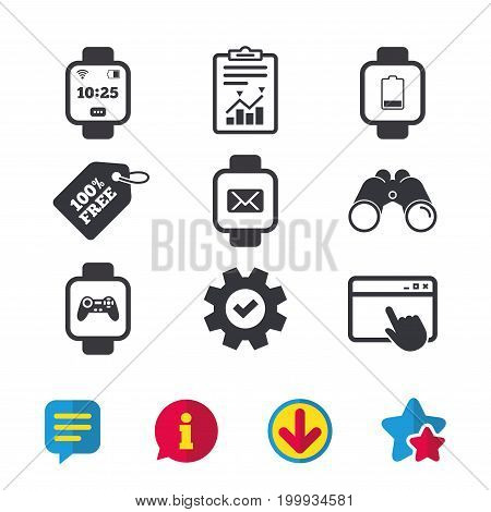 Smart watch icons. Wrist digital time watch symbols. Mail, Game joystick and wi-fi signs. Browser window, Report and Service signs. Binoculars, Information and Download icons. Stars and Chat. Vector