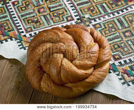 Eastern European Easter Bread.   close up  prepared meal