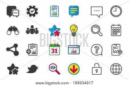 Social media icons. Chat speech bubble and Bird chick symbols. Human group sign. Chat, Report and Calendar signs. Stars, Statistics and Download icons. Question, Clock and Globe. Vector