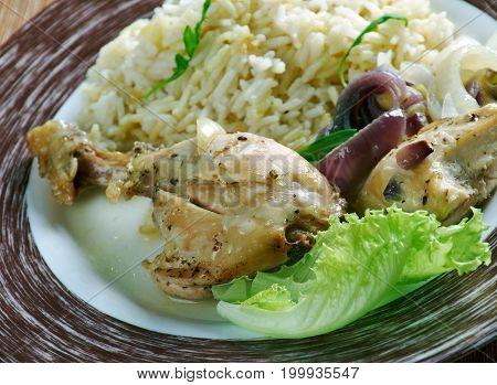 Trini Stew Trinidad style Chicken,   close up  prepared meal