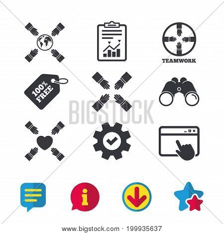 Teamwork icons. Helping Hands with globe and heart symbols. Group of employees working together. Browser window, Report and Service signs. Binoculars, Information and Download icons. Stars and Chat