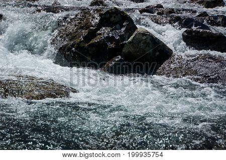 Cascading White Water At Roaring Fork Stream In The Smokies