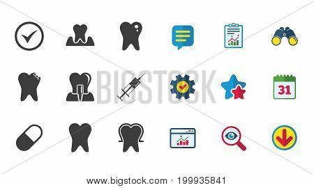 Tooth, dental care icons. Stomatology, syringe and implant signs. Healthy teeth, caries and pills symbols. Calendar, Report and Download signs. Stars, Service and Search icons. Vector