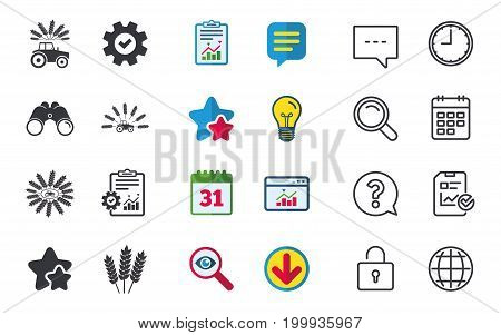 Tractor icons. Wreath of Wheat corn signs. Agricultural industry transport symbols. Chat, Report and Calendar signs. Stars, Statistics and Download icons. Question, Clock and Globe. Vector