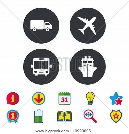 Transport icons. Truck, Airplane, Public bus and Ship signs. Shipping delivery symbol. Air mail delivery sign. Calendar, Information and Download signs. Stars, Award and Book icons. Vector