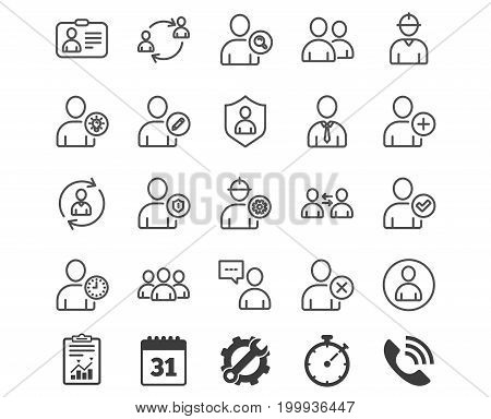 Users line icons. Profile, Group and Support signs. ID card, Teamwork and Businessman symbols. Person talk, Engineer and Human Management. Report, Calendar and Service signs. Vector