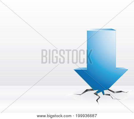 Blue Arrow Crash. Sales Or Crisis Concept Communication Background.