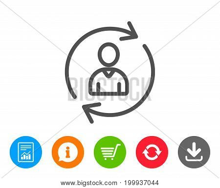 Human Resources line icon. User Profile sign. Person silhouette symbol. Refresh or Update sign. Report, Information and Refresh line signs. Shopping cart and Download icons. Editable stroke. Vector