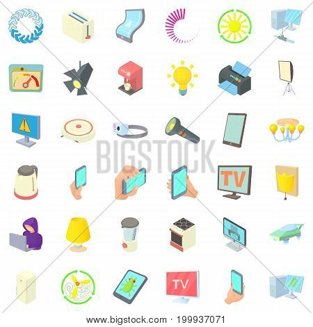 Electricity icons set. Cartoon style of 36 electricity vector icons for web isolated on white background
