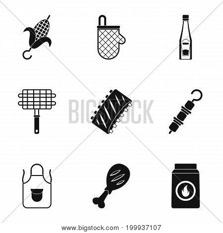 Frying meat icons set. Simple set of 9 frying meat vector icons for web isolated on white background