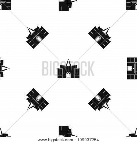 Residential mansion with towers pattern repeat seamless in black color for any design. Vector geometric illustration