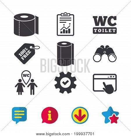 Toilet paper icons. Gents and ladies room signs. Paper towel or kitchen roll. Man and woman symbols. Browser window, Report and Service signs. Binoculars, Information and Download icons. Vector