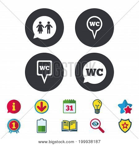 WC Toilet pointer icons. Gents and ladies room signs. Man and woman speech bubble symbols. Calendar, Information and Download signs. Stars, Award and Book icons. Light bulb, Shield and Search. Vector