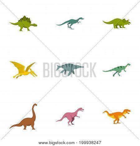 Types of dinosaur icons set. Flat set of 9 types of dinosaur vector icons for web isolated on white background
