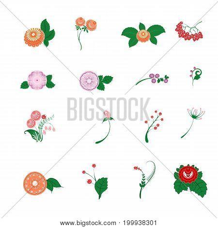 Floral Pattern Decor Element Set. Ornamental Elements Over White Background. Slavic Folk Traditional