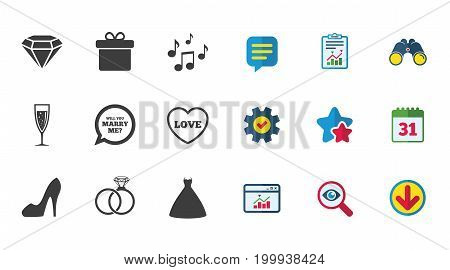 Wedding, engagement icons. Rings, gift box and brilliant signs. Dress, shoes and musical notes symbols. Calendar, Report and Download signs. Stars, Service and Search icons. Vector