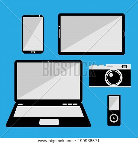 Smartphone, Tablet, Laptop, Camera and Music Player