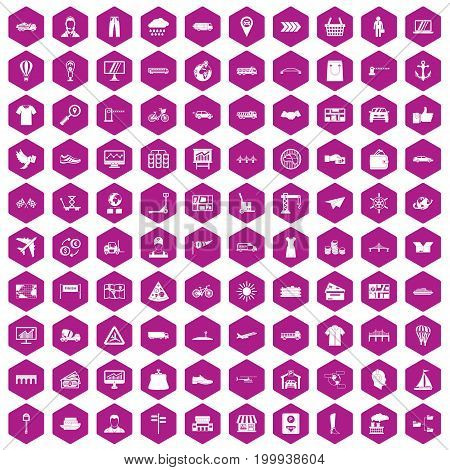 100 logistic and delivery icons set in violet hexagon isolated vector illustration