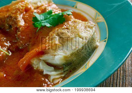 cazuela de pescado colombiana Seafood Stew, close up meal