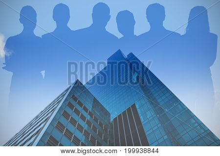 Business people against white background against glass building against sky