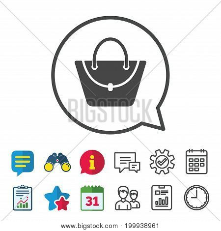 Woman bag icon. Female handbag sign. Glamour casual baggage symbol. Information, Report and Calendar signs. Group, Service and Chat line icons. Vector
