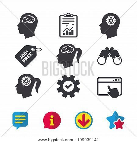 Head with brain icon. Male and female human think symbols. Cogwheel gears signs. Woman with pigtail. Browser window, Report and Service signs. Binoculars, Information and Download icons. Vector