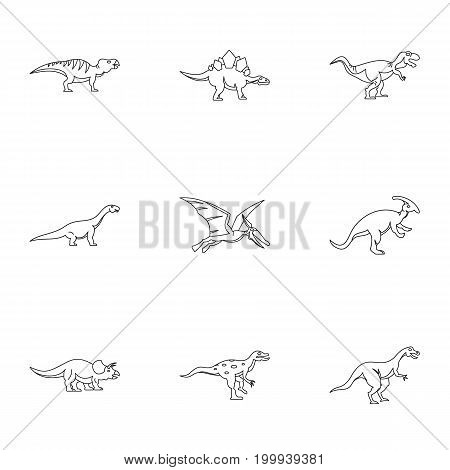 Types of dinosaur icons set. Outline set of 9 types of dinosaur vector icons for web isolated on white background