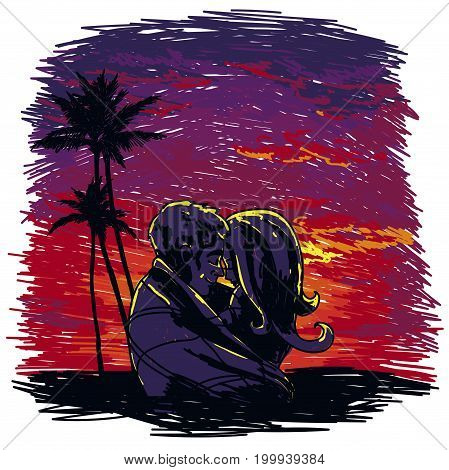 poster with kissing couple silhouette on tropic sunset background  in sketch style, vector illustration