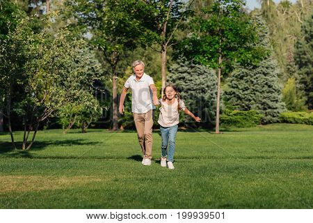 cheerful girl and grandfather holding hands while running together on meadow