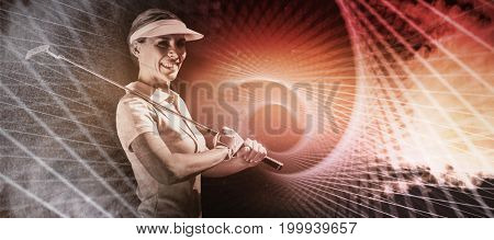 Woman golf player looking the camera  against gray cracked concrete wall