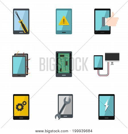 Repair phones fix icon set. Flat style set of 9 repair phones fix vector icons for web isolated on white background