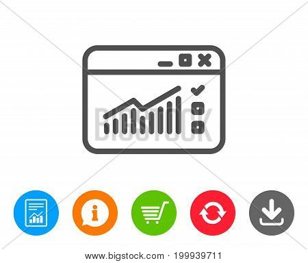 Website Traffic line icon. Report chart or Sales growth sign. Analysis and Statistics data symbol. Report, Information and Refresh line signs. Shopping cart and Download icons. Editable stroke. Vector