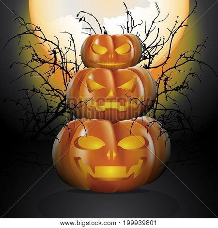 Three halloween pumpkins in moon light with the big full moon and decorated with silhouette of dry twigs. Vector illustration for Halloween festival.