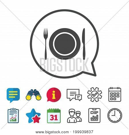 Plate dish with fork and knife. Eat sign icon. Cutlery etiquette rules symbol. Information, Report and Calendar signs. Group, Service and Chat line icons. Vector