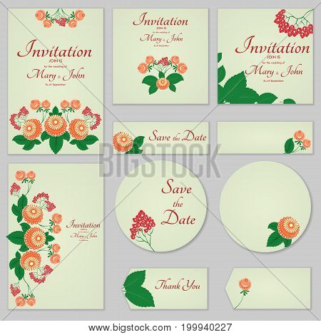 Collection Greeting Cards With Stylized Orange Roses And Rowan, Can Be Used As Invitation Card For W