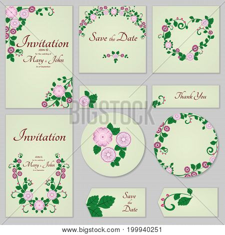 Collection Greeting Cards With Stylized Gentle Wild Rose, Can Be Used As Invitation Card For Wedding