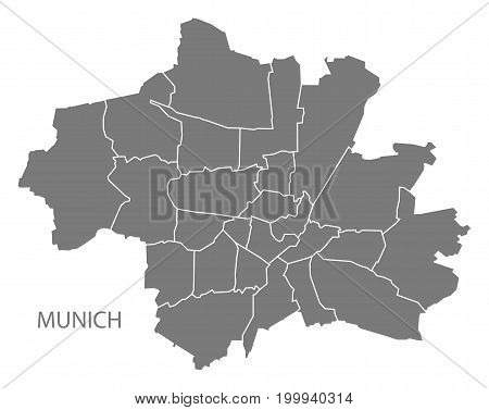 Munich City Map With Boroughs Grey Illustration Silhouette Shape