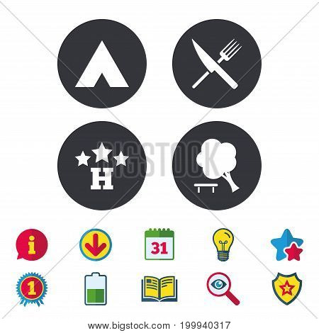 Food, hotel, camping tent and tree icons. Knife and fork. Break down tree. Road signs. Calendar, Information and Download signs. Stars, Award and Book icons. Light bulb, Shield and Search. Vector