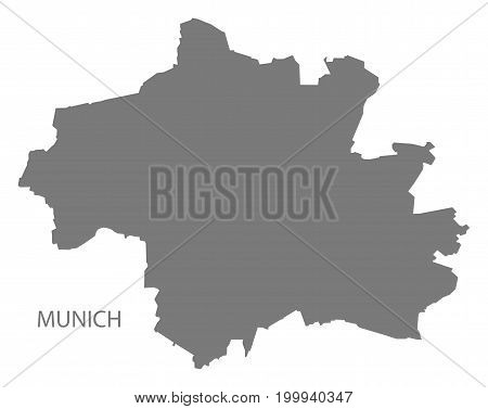 Munich City Map Grey Illustration Silhouette Shape