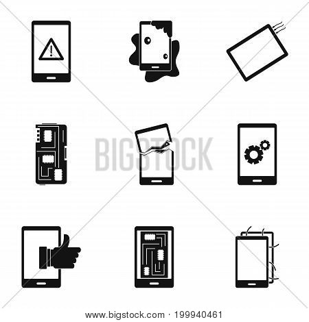 Phone diagnostics icon set. Simple style set of 9 phone diagnostics vector icons for web isolated on white background