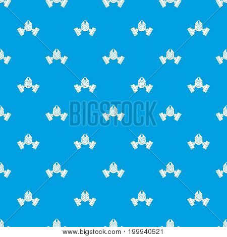 Gas mask pattern repeat seamless in blue color for any design. Vector geometric illustration