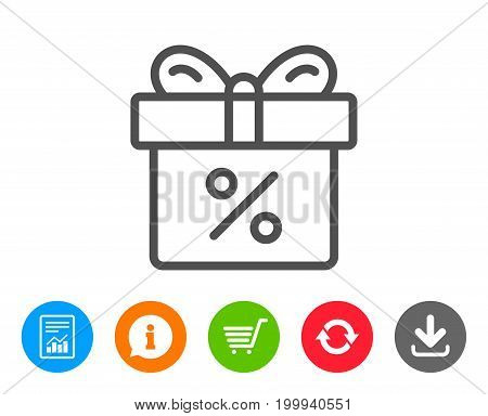 Gift box with Percentage line icon. Present or Sale sign. Birthday Shopping symbol. Package in Gift Wrap. Report, Information and Refresh line signs. Shopping cart and Download icons. Editable stroke