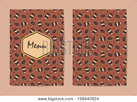 Menu template. Coffee restaurant brochure, coffee shop menu design. Vector cafe template with hand-drawn pattern. Coffee flyer. Double-sided menu cover. Vector illustration