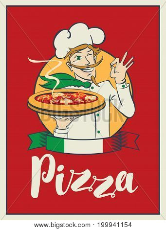 Vector illustration with the inscription Pizza and a winking chef with a pizza in hand on red background with ribbon in the colors of the Italian flag.
