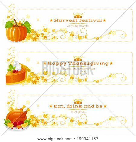 Autumn thanksgiving holiday food vector banner set. Fall horizontal seasonal banners with text lettering, pumpkin patch, pie slice, roast turkey, falling leaves. Modern elegant illustration border