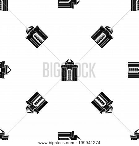 Medieval palace pattern repeat seamless in black color for any design. Vector geometric illustration