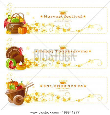 Autumn thanksgiving holiday food vector banner set. Fall horizontal banners design, traditional american farm gardem icons - picnic basket, turkey bird, wheelbarrow. Text lettering, white background.